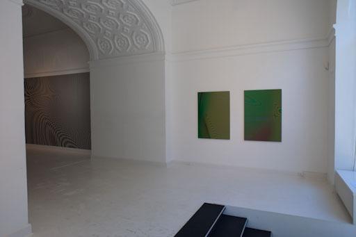 "installation view. Martin Asbæk Gallery, DK ""Moiré (RGB-print)"" 2009 and ""Moiré (Wallpaper)"" 2009installation view. Martin Asbæk Gallery, DK ""Moiré (Grey-print)"" 2009"